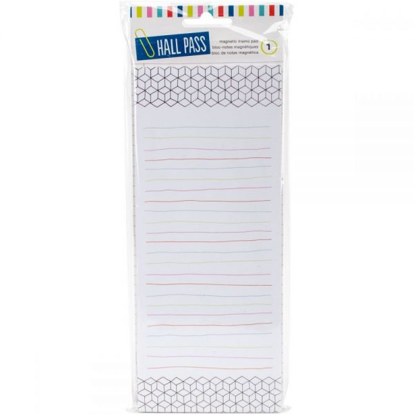 "Hall Pass Magnetic Memo Pad W/80 Sheets 3.75""X10"""