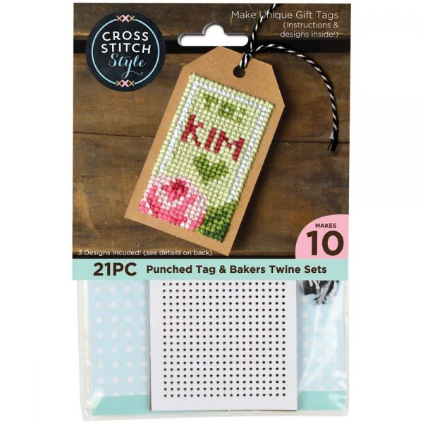 Gift Tags W/Bakers Twine Punched For Cross Stitch