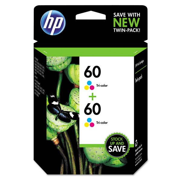 HP 60, (CZ072FN) 2-pack Tri-color Original Ink Cartridges