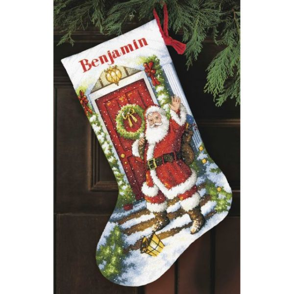 Dimensions Gold Collection Welcome Santa Stocking Counted Cross Stitch Kit
