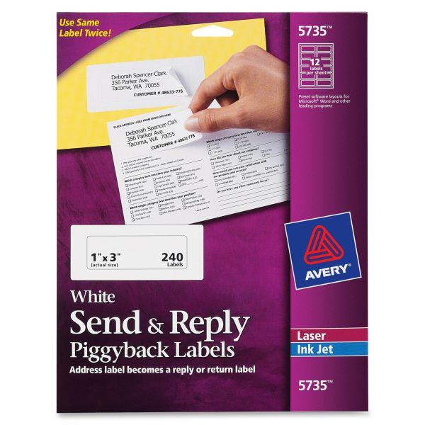 Avery 5735 Send & Reply Piggyback Address Labels