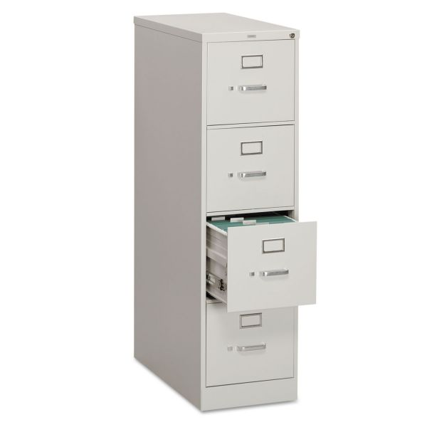 HON 310 Series Four-Drawer, Full-Suspension File, Letter, 26-1/2d, Light Gray