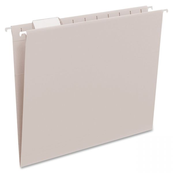 Smead Hanging File Folders, 1/5 Tab, 11 Point Stock, Letter, Gray, 25/Box