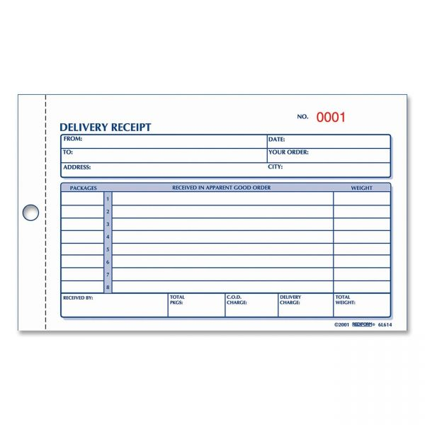 Rediform Delivery 2-Part Receipt Book
