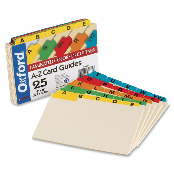 Oxford Alphabetic Laminated Tab Index Card Guides