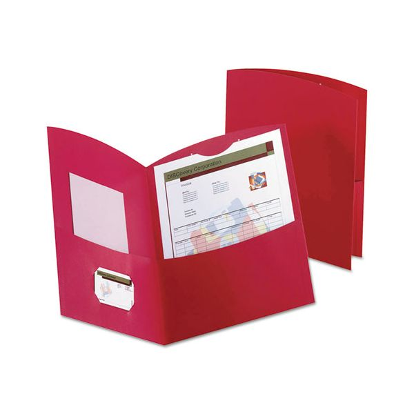 Oxford Contour Two-Pocket Folder, Recycled Paper, 100-Sheet Capacity, Red, 25/Box