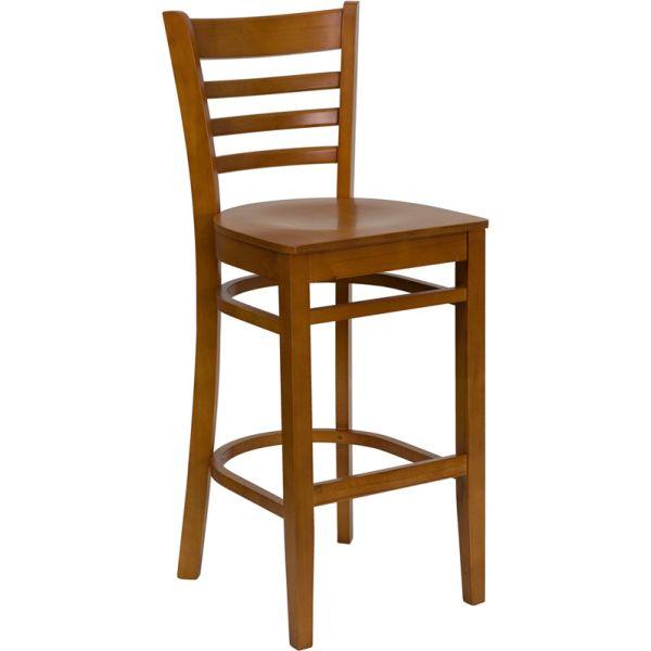 Flash Furniture HERCULES Series Ladder Back Wooden Barstool