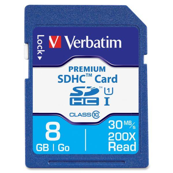 Verbatim 8GB Premium SDHC Memory Card, UHS-I Class 10