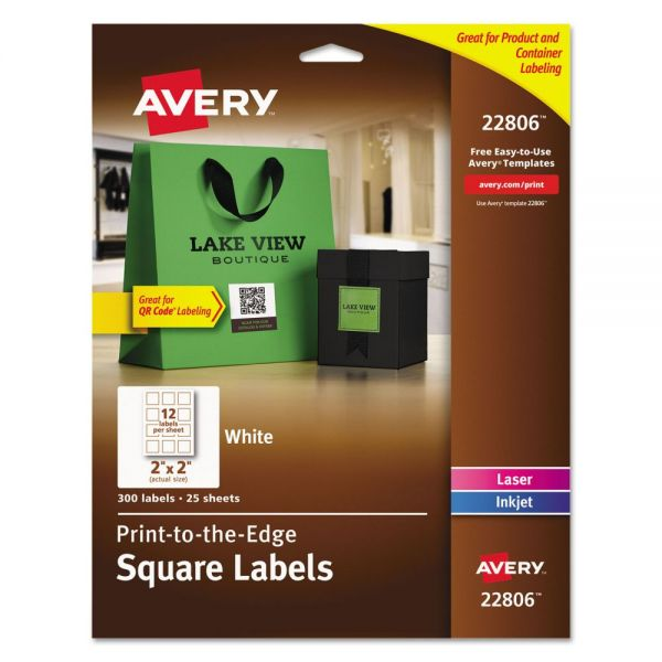Avery Square Print-to-the-Edge Labels w/TrueBlock, 2 x 2, White, 300/Pack