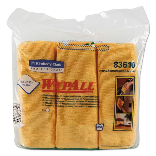WypAll* Microfiber Cloths, Reusable, 15 3/4 x 15 3/4, Yellow, 24/Carton