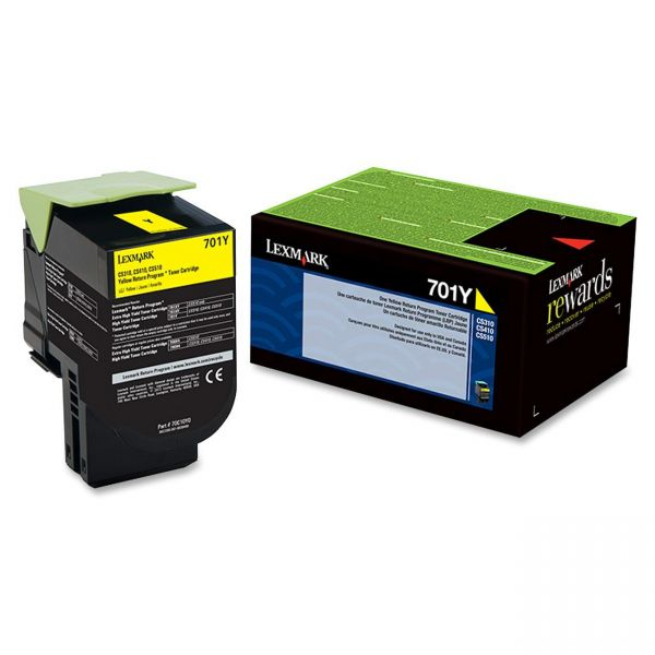 Lexmark 701Y Yellow Return Program Toner Cartridge (70C10Y0)