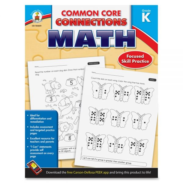 Carson-Dellosa Common Core Connections Gr K Math Workbook Education Printed Book for Mathematics