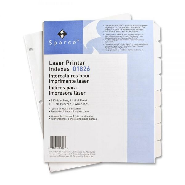 Sparco Laser Printer Index 8-Tab Dividers