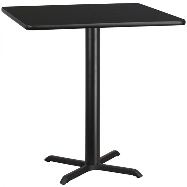 Flash Furniture 42'' Square Black Laminate Table Top with 33'' x 33'' Bar Height Table Base