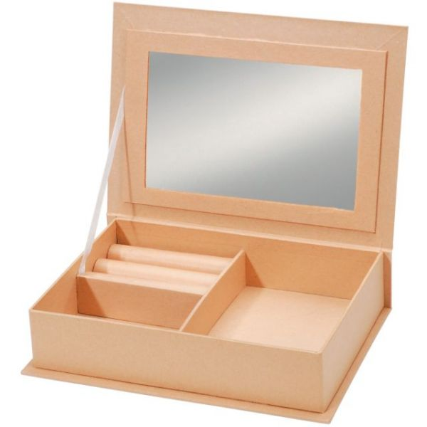 Paper-Mache Jewelry Box W/Mirror