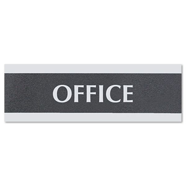 Headline Sign Century Series Office Sign, OFFICE, 9 x 3, Black/Silver