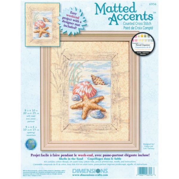 Dimensions Matted Accents Shells In The Sand Counted Cross Stitch Kit