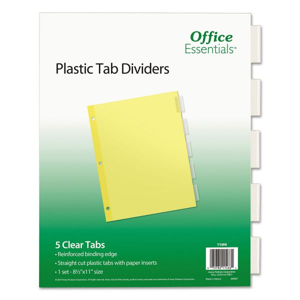 Office Essentials Plastic Insertable Dividers, 5-Tab, Clear Tab, Letter, 1 Set
