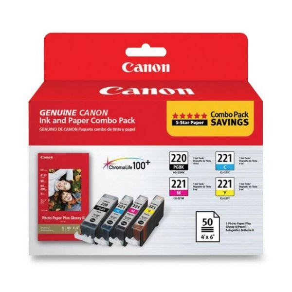 Canon PGI-220 Black/CLI-221 Color Ink Cartridges & Photo Paper Combo Pack