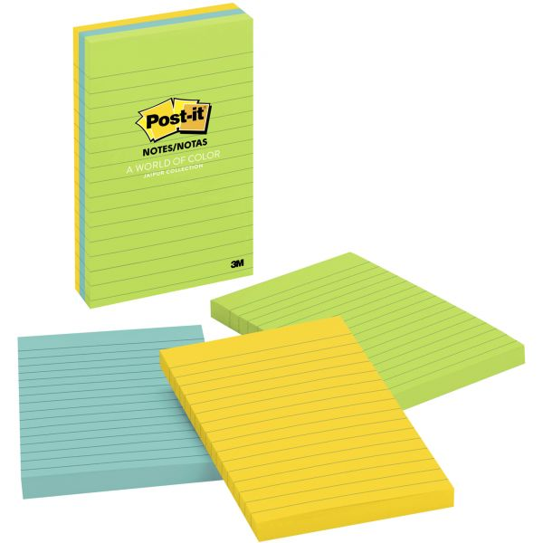 Post-it Notes Original Pads in Jaipur Colors, Lined, 4 x 6, 100-Sheet, 3/Pack