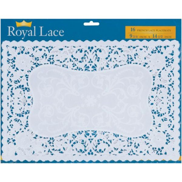 "French Lace Paper Doilies 9.75""X14.5"" Rectangle 16/Pkg"""