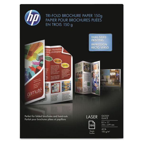 HP Tri-Fold Laser Brochure Paper, 97 Brightness, 40 lb, 8 1/2 x 11, White, 150 Sheets/Pack