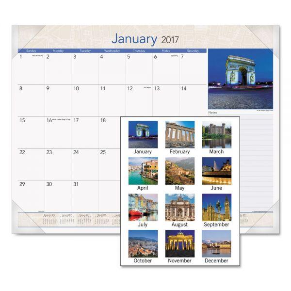 AT-A-GLANCE European Destinations Monthly Desk Pad Calendar