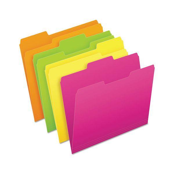Pendaflex Glow File Folders, 1/3 Cut Top Tab, Letter, Assorted Colors, 24/Box
