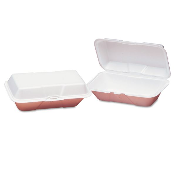Genpak Foam Hoagie Hinged Container, Large, White, 9-1/2x5-1/4x3-1/2, 100/Bag