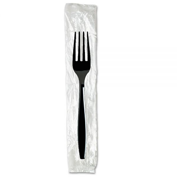 Dixie Individually Wrapped Forks, Plastic, Black, 1000/Carton