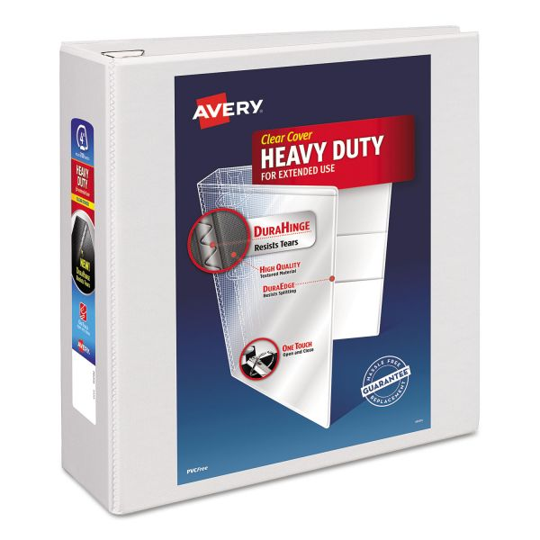 "Avery Heavy-Duty 3-Ring View Binder w/Locking 1-Touch EZD Rings, 4"" Capacity, White"