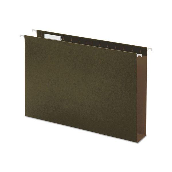 Universal Two Inch Box Bottom Pressboard Hanging Folder, Legal, Standard Green, 25/Box