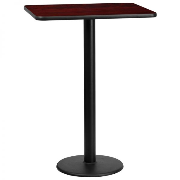 Flash Furniture 24'' x 30'' Rectangular Mahogany Laminate Table Top with 18'' Round Bar Height Table Base