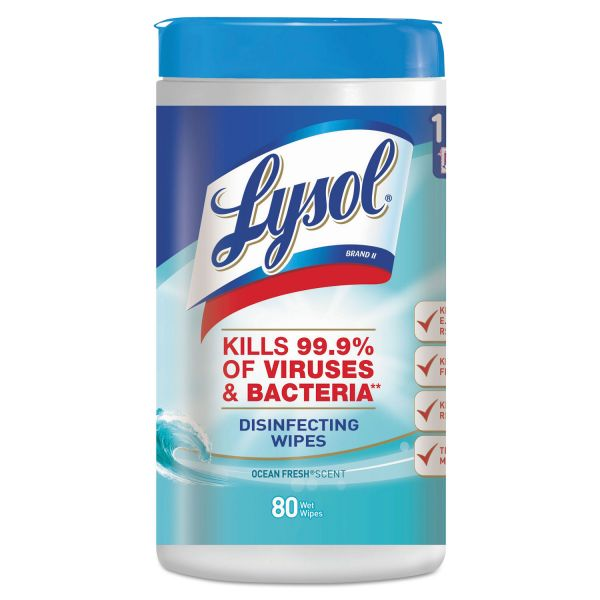 LYSOL Brand Disinfecting Wipes, Ocean Fresh Scent 80/Canister