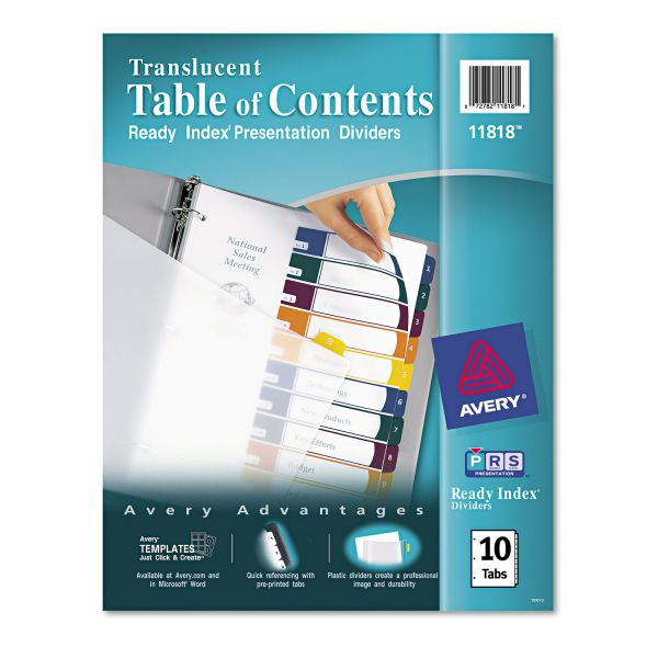 Avery Translucent Ready Index 10-Tab Numbered Dividers With Table Of Contents Page