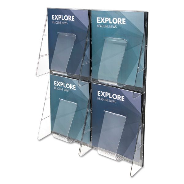 deflecto Multi-Pocket Wall-Mount Literature Systems, 18 3/8w x 23 3/4h,Clear/Black