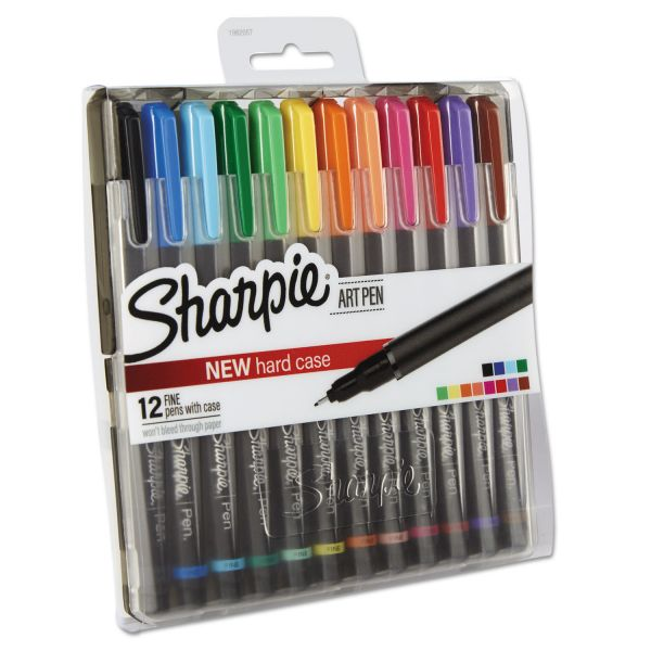 Sharpie Art Pen with Hard Case, Fine Pt.,12/Set