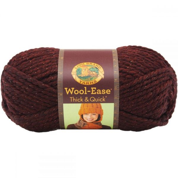 Lion Brand Wool-Ease Thick & Quick Yarn - Cabernet-Metallic