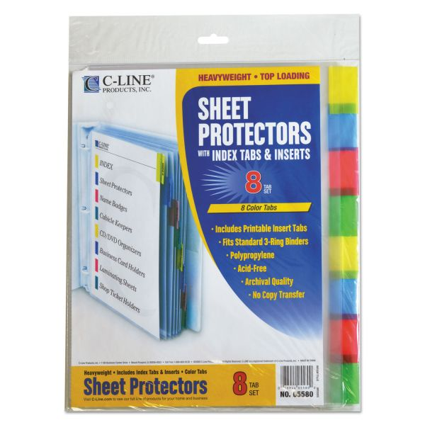 C-Line Sheet Protectors with Index Tabs, Letter, Heavyweight, Assorted Color Tabs, 8/ST