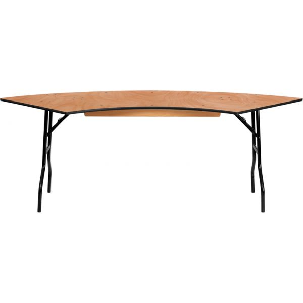 Flash Furniture 7.25 ft. x 2.5 ft. Serpentine Wood Folding Banquet Table