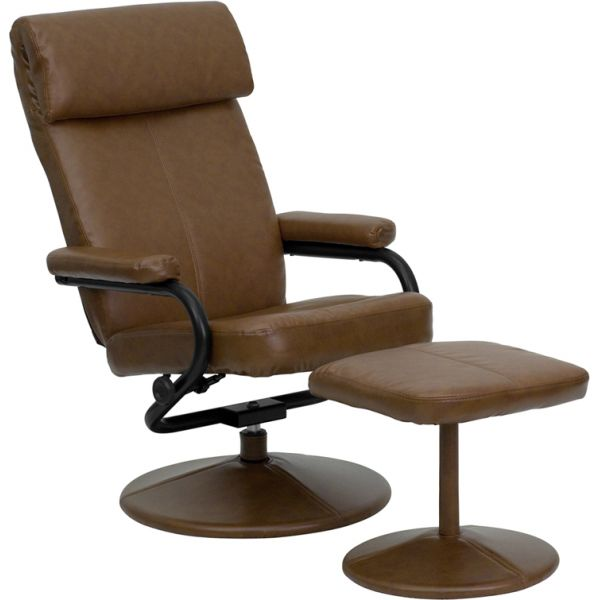 Flash Furniture Contemporary Palomino Leather Recliner and Ottoman with Leather Wrapped Base