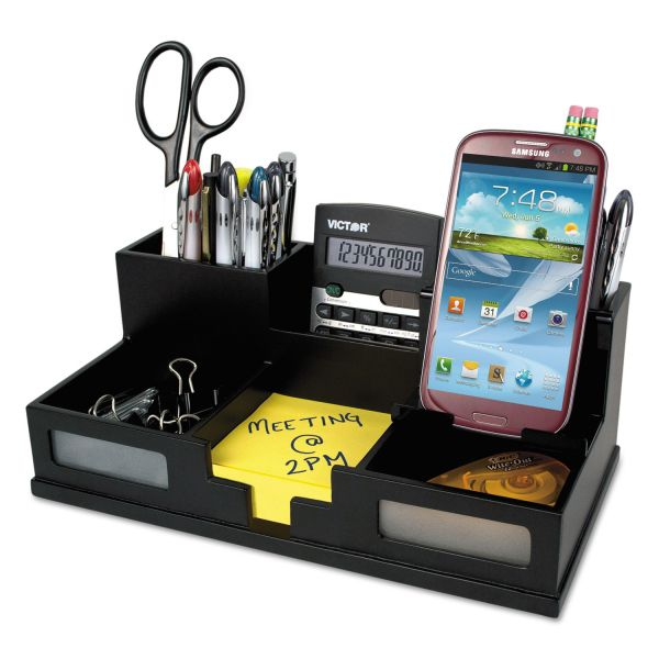 Victor Midnight Black Desk Organizer with Smartphone Holder
