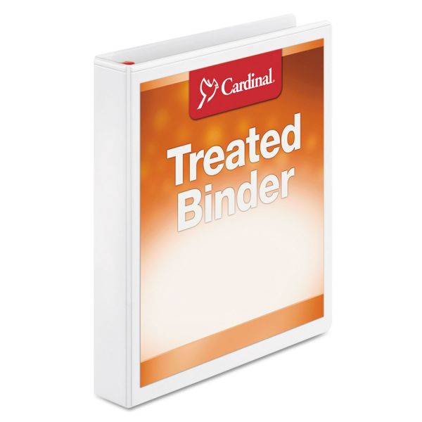 "Cardinal Treated Binder ClearVue Locking 3-Ring View Binder, 1"" Capacity, Slant-D Ring, White"
