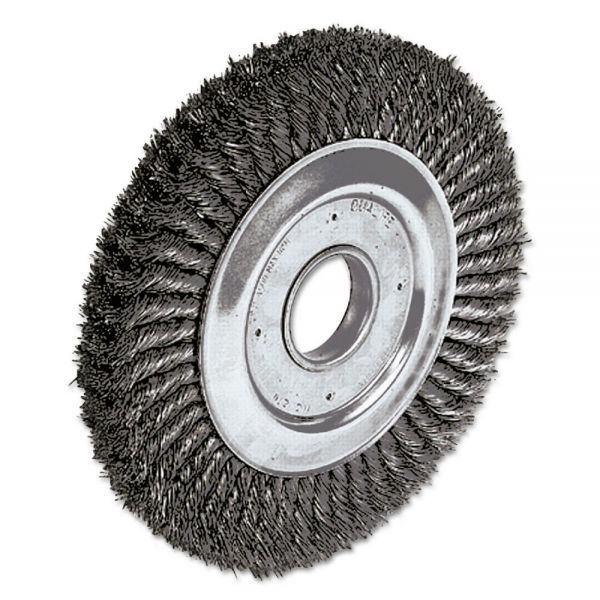 "Weiler Dualife Twist-Knot Wire Wheel, 10"" dia, 1 3/4"" Trim, .016 Wire, 2"" Arbor"