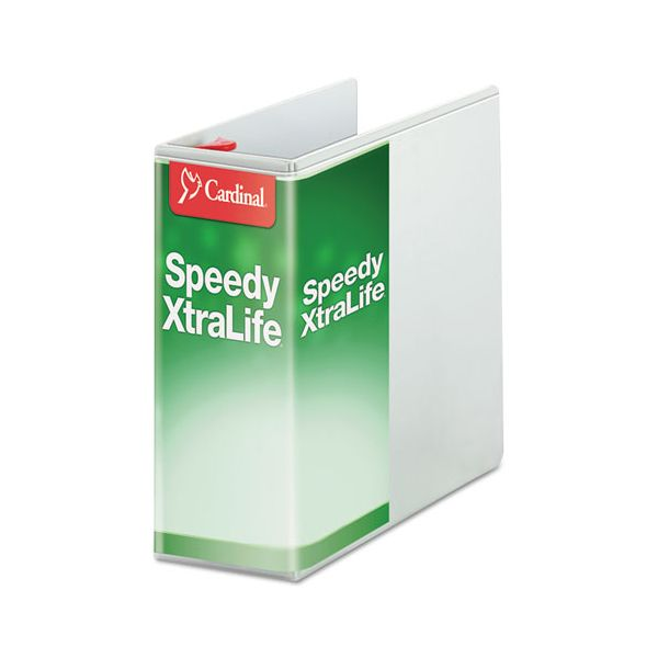 "Cardinal Speedy XtraLife Non-Stick Locking 3-Ring View Binder, 5"" Capacity, D-Ring, White"