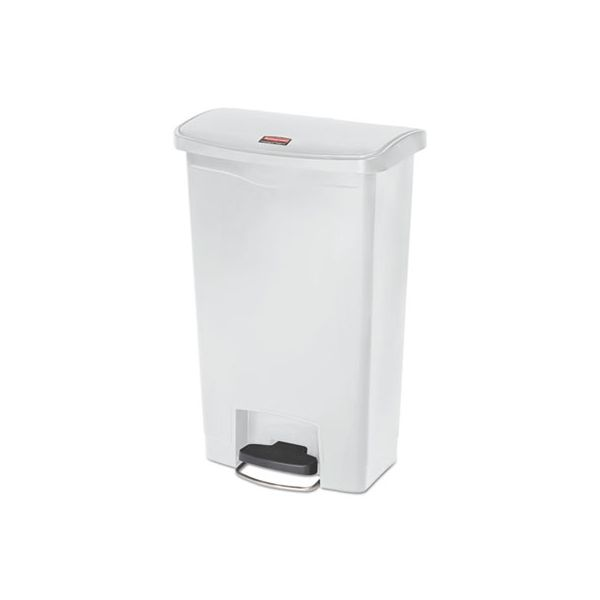Rubbermaid Commercial Slim Jim Resin Step-On Container, Front Step Style, 13 gal, White