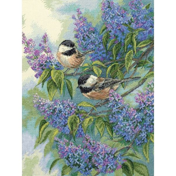 Gold Collection Chickadees & Lilacs Counted Cross Stitch Kit