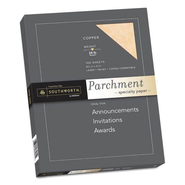 Southworth Colors + Textures Fine Parchment Paper, Copper, 24lb, Letter, 100 per Pack