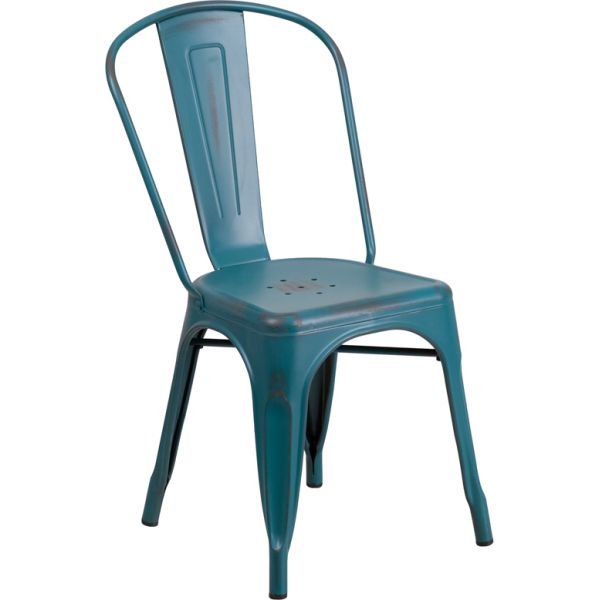 Flash Furniture Distressed Kelly Blue-Teal Metal Indoor-Outdoor Stackable Chair