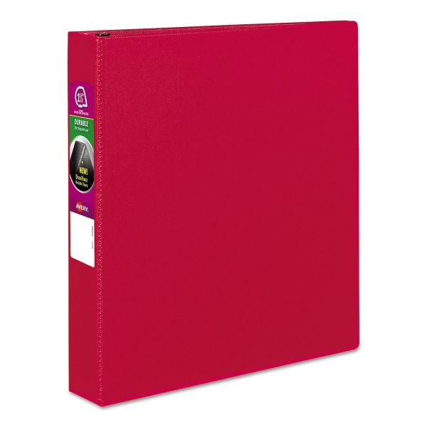 """Avery Durable Binder with Slant Rings, 11 x 8 1/2, 1 1/2"""", Red"""